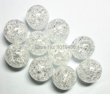 (Choose size) 10mm/12mm/16mm/20mm white color Acrylic clear Crack Beads, Colorful Chunky Beads for Necklace Jewelry