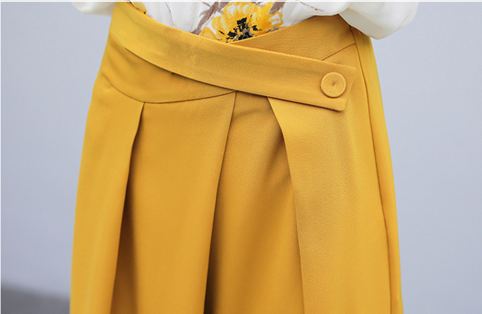 Yellow Summer Chiffon Two Piece Sets Outfits Women Plus Size Printed Blouses And Wide Leg Pants Suits Office Elegant 2 Piece Set 32