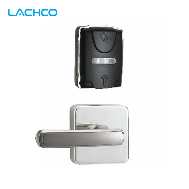 LACHCO  Electronic Door Lock Smart RFID Card Lock Split Design For Home Hotel Office Room US Mortise Zinc Alloy L16052BS lachco card hotel lock digital smart electronic rfid card for office apartment hotel room home latch with deadbolt l16058bs