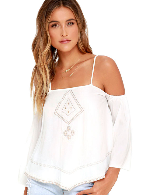 5942b358ce6de Spaghetti Strap Top Cold Shoulder Loose Embroidery Tribal Boho Pattern  White Tank Top Summer Tops 2016 Fashion Free Shipping New
