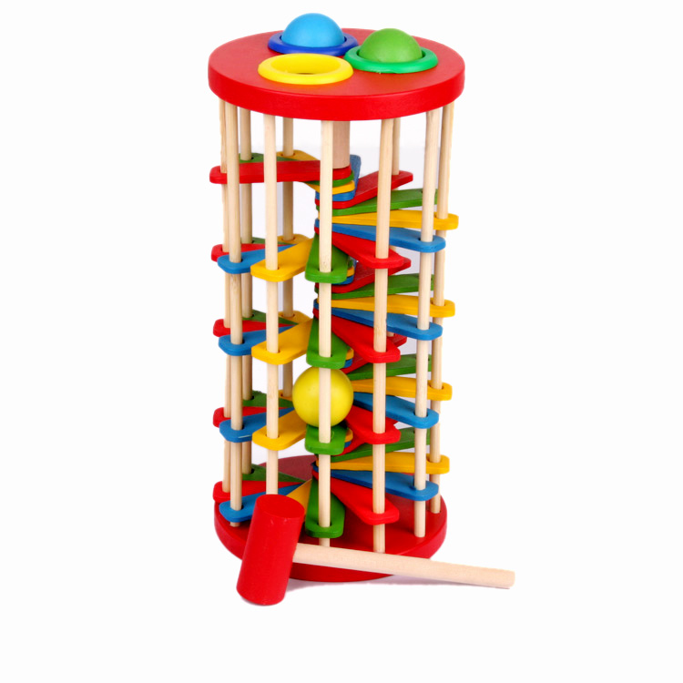 Children knock ball the ladder block  toys/ geometric  blocks for Kids Child educational toys, 1pc/pack free shipping popular toys wooden hand knock piano octave cartoon animal small children musical instrument educational toys free shipping