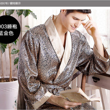 Rich spring and autumn male silk robe summer thin long-sleeve sleepwear men's plus size bathrobe