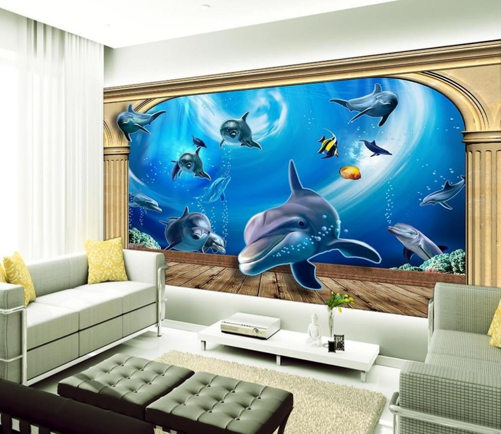 Online buy wholesale dolphins wallpaper from china for Dolphin mural wallpaper