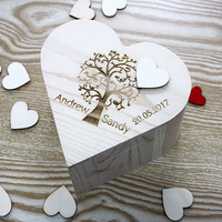 Buythrow Personalized Wooden Wedding Guestbook Guest Box Custom Rustic Keepsake Wedding Decoration With 120pcs Love Hearts