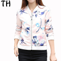 2016 Slim Fit Autumn MA1 Bomber Jacket Women Windbreaker Flower Print Zipper Basic Coats Chaquetas Femme #161458