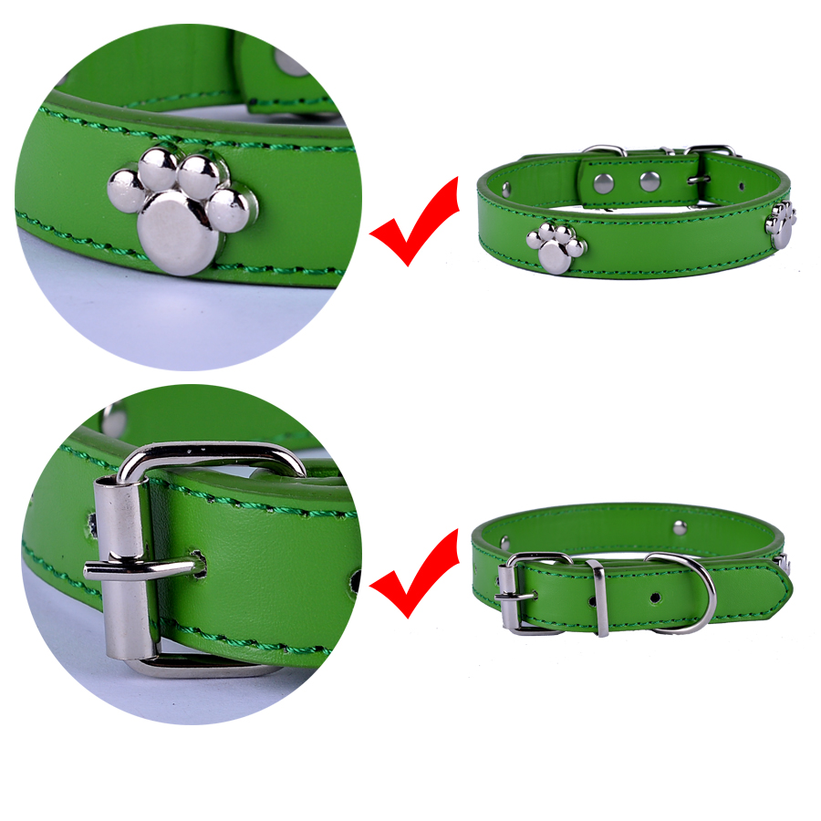 Fashion Dog Collars Personalized Paw Accessories Pu Leather Collar ...