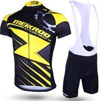 D'origine Meikroo racing vitesse jaune bavoir à manches courtes cyclisme jersey définit été Respirant Vélo vêtements pour hommes