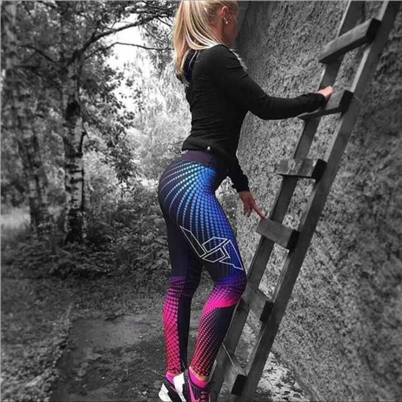 Malha Padrão de Impressão Leggings Leggings de fitness Para Mulheres Treino Desportivo Calças Jeggings Leggins Elastic Magro Preto Branco 5045