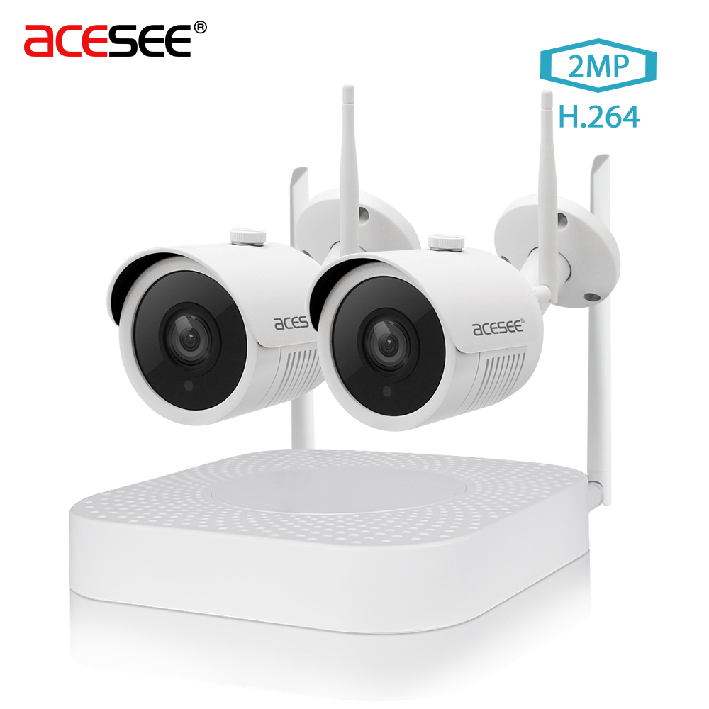 [ Inventory Clearance ] ACESEE 2CH 1080p Camera HDMI Outdoor Video Surveillance System Home Security IP 4CH wifi CCTV Camera Kit