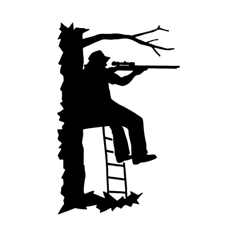 11.2*17.3CM Funny Brave Hunter Sitting On A Tree Bracket Shooters Car Sticker Personalized Vinyl Reflective Decals  C7-0075