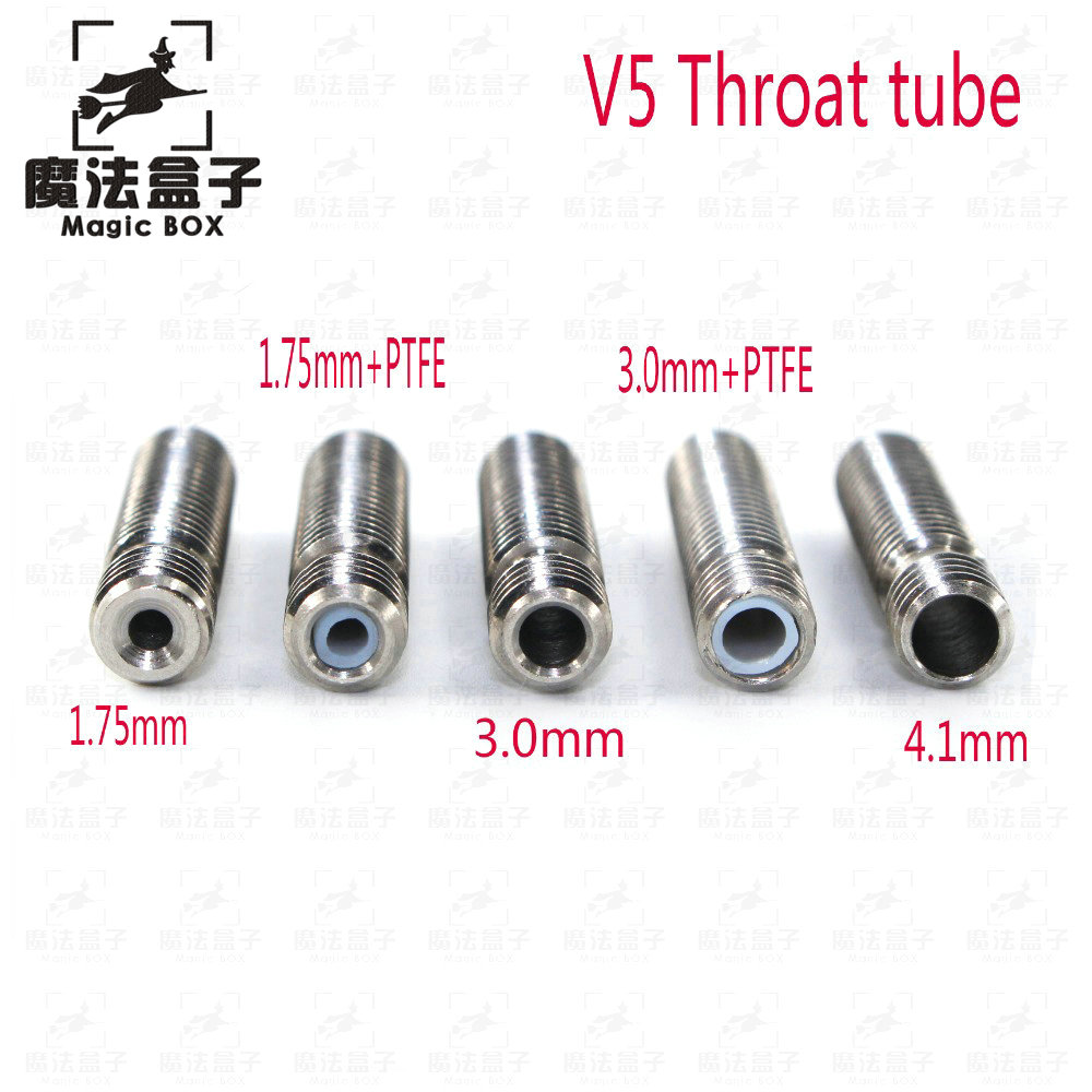 10Pcs 3D Printer parts Extruder 3D V5 Hotend Nozzle Throat Heat Break All Metal / With PTFE Pipe M6 M6 For 1.75/3.0mm Filament запчасти для принтера 3d printer accessories feed nozzle throat m6 20mm 10pcs 3d ultimaker 3 3d m6 20 3d printer feed throat ultimaker printheads for 3mm supplies