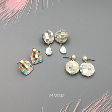 Vanssey Vintage Fashion Square Round Handmade Mosaic Nature Baroque Mother of Pearl Stud Earrings Accessories for Women 2018 New
