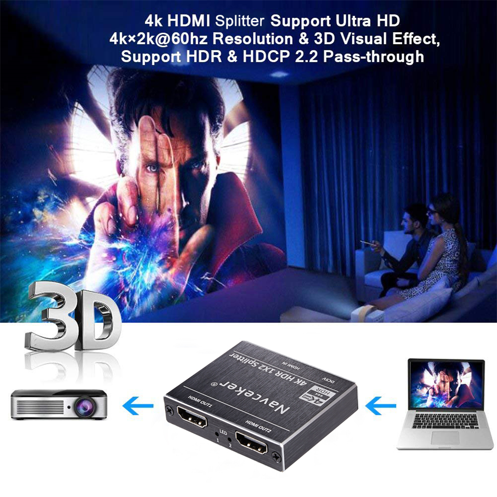 ProAV 4K UHD HDMI Splitter 2 0 1x2 HDMI 2 0 Splitter HDCP 2 2 HDR Splitter  HDMI 2 0 4K HDMI2 0 Splitter For Blu-ray DVD PS3 PS4