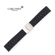 18 20 22 24mm New Black Strap Silicone Rubber Waterproof Watch Band Belt Straight End Double Push Stainless Steel Clasp Buckle  стоимость