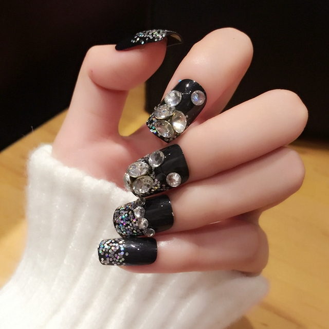 Black Lady Fake Nails Large Rhinestones Decoration Acrylic Fingernails Nail Tips Kit 24pcs Glitter With