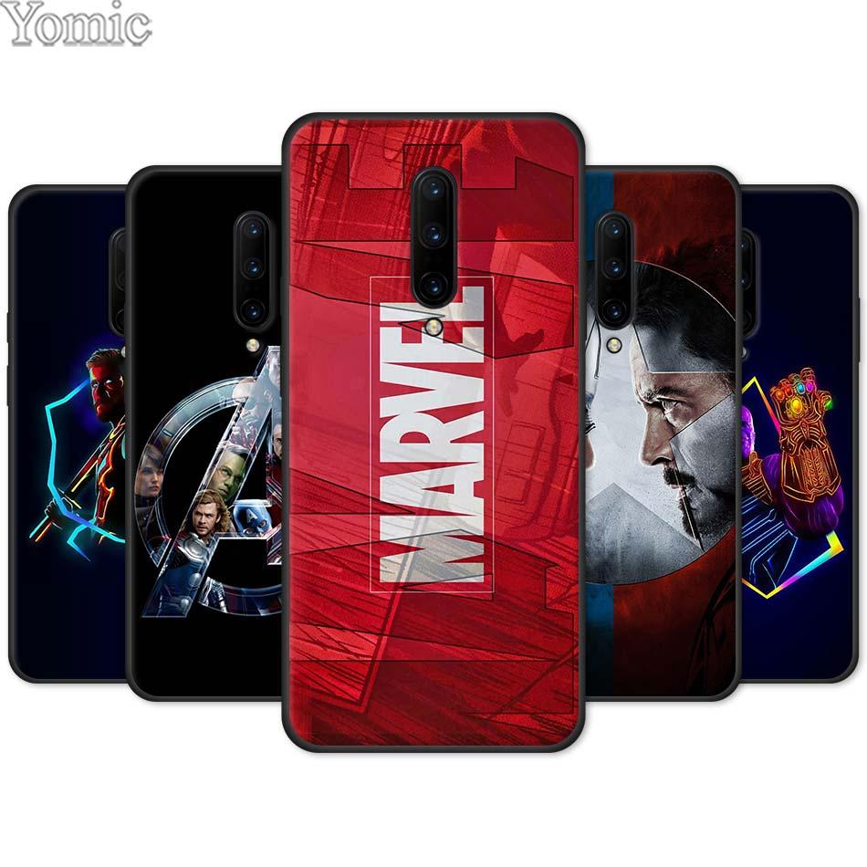 Marvel super-héros les Avengers coque de téléphone en Silicone pour Oneplus 7 7 Pro 6 6T 5T coque souple pour Oneplus 7 7Pro coque noire