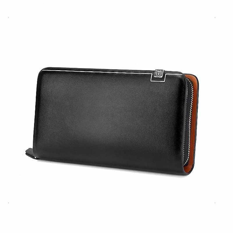 Бизнес мужской кошелек длинный Дизайнер двойная молния кожаный мужской кошелек бренд для мужчин s клатч удобная сумка Роскошные женские кошельки carteira Masculina