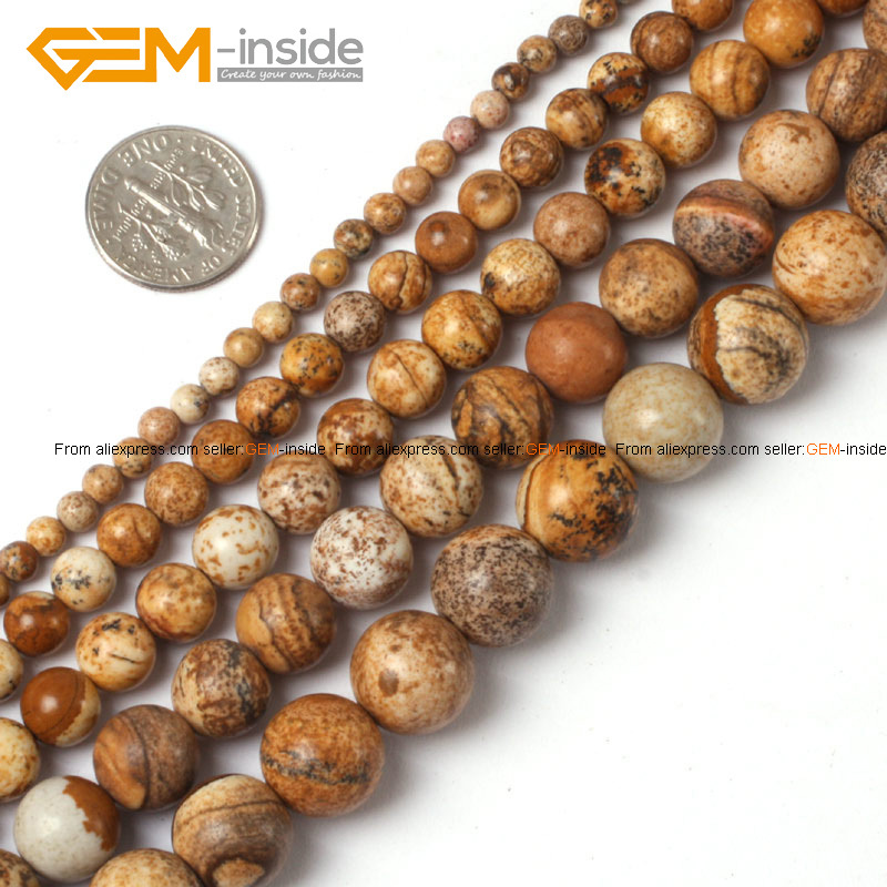 "Gem-inside 2-14mm Natural Stone Beads Round Brown Picture Jaspers Beads For Jewelry Making Beads 15"" DIY Beads Trinket Gift"