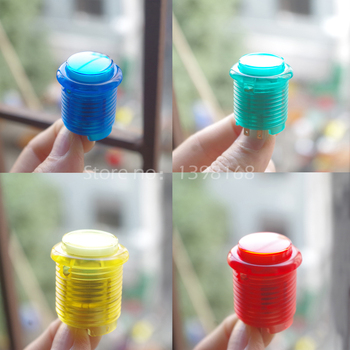 50PCs/Lot  24mm Illuminated LED Push Button Transparency Screw Arcade Button with Microswitch for Arcade Games Accessory