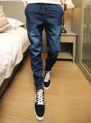 6cb91eca2fd82a Free shipping Men Jean Joggers Mens Fashion Denim Joggers Ankle Length  Harem Pants Men Casual Sportswear Jogger jeans 020607-in Jeans from Men's  Clothing on ...