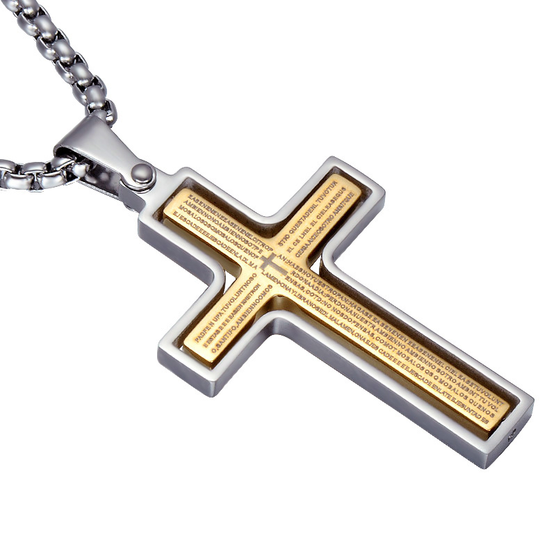 HIP Rotatable Bible Pattern Cross Necklace Gold Color Stainless Steel Personality Cross Pendant For Men Prayer Jewelry Gift