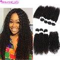 Cabelos Cacheados Crespo Mongol Com Fechamento 7a Virgem Encaracolado Crespo cabelo com Fechamento Afro Cabelo Encaracolado Kinky 3/4 Pacotes com fechamento