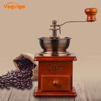 VOGVIGO Best Vintage Coffee Grinder Hand Coffee Grinder Retro Wood Coffee Mill With Procelain Movement Bean Grinder Coffee maker