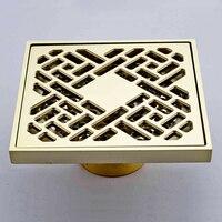L16067 Luxury 10*10CM Artistic Gold Color Brass Floor Drain
