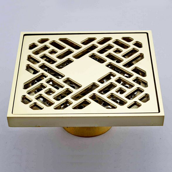 ФОТО Luxury Brass Floor Drain, Gold Color Square Drain, 10*10CM Artistic Drainer, Free Shipping L16067