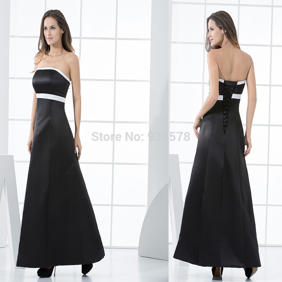 Simple And Elegant White Satin Sweetheart With Jacket: Lady New Arrival Simple Long Black Dress Formal Dress