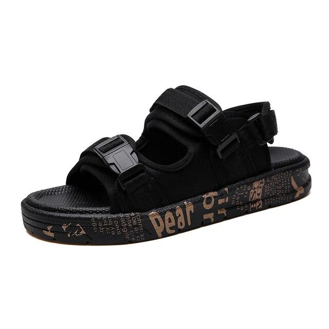 Letnie Gladiator mężczyzna plaża sandały 2019 męskie buty na świeżym powietrzu Roman mężczyźni obuwie casual klapki japonki modne pantofle płaskie Plus rozmiar 46