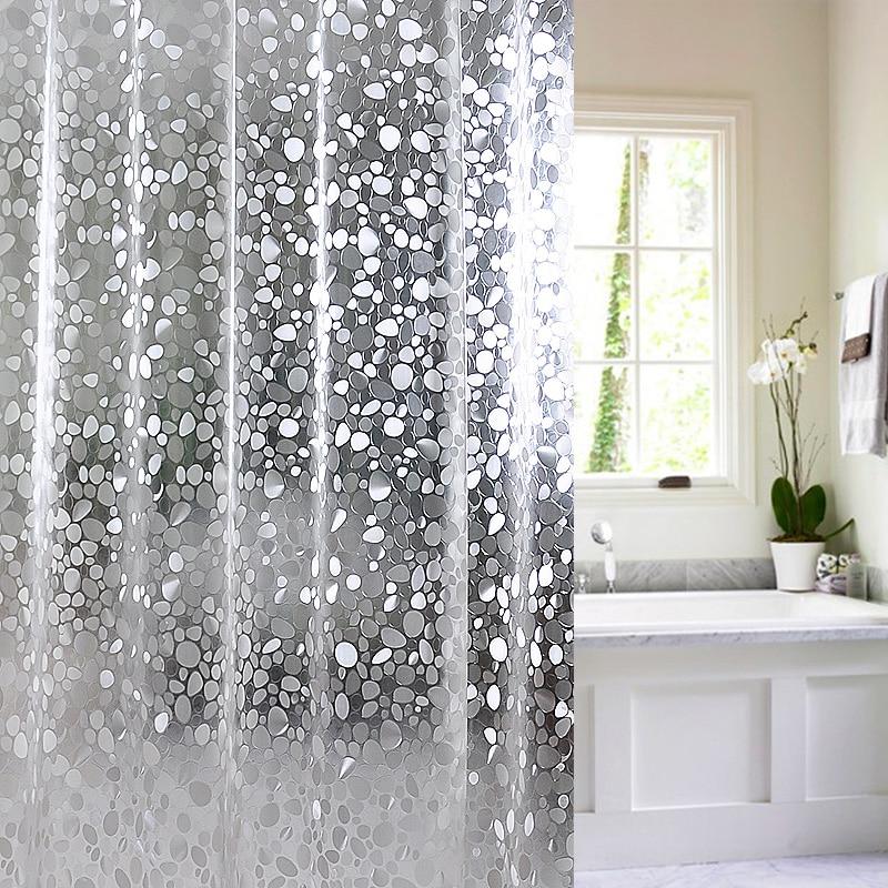 Transparent Cobblestone Pattern Bathroom Shower Curtain