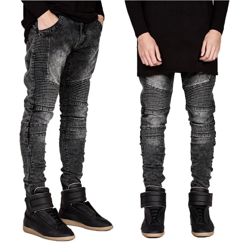 2019 New Fashion High Street Personality Wrinkled   jeans   Men's Stretch Slim Feet pants Black Denim Motorcycle pants Size 28- 42