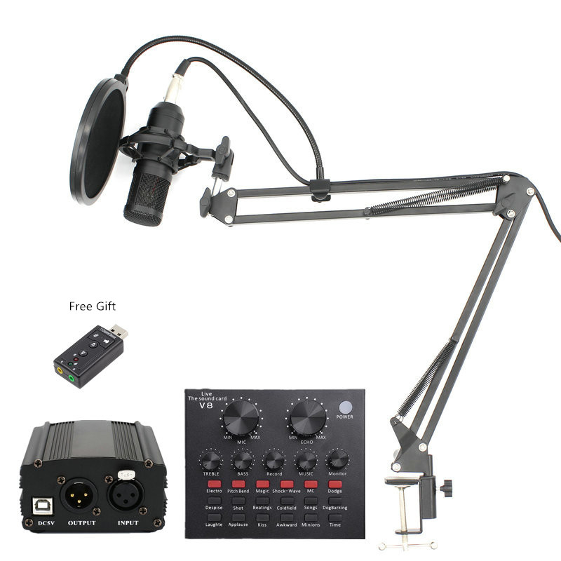BM 800 Professional Condenser Microphone bm800 Stand Pop Filter Tripod for Microphone for Computer PC Video Studio RecordingBM 800 Professional Condenser Microphone bm800 Stand Pop Filter Tripod for Microphone for Computer PC Video Studio Recording