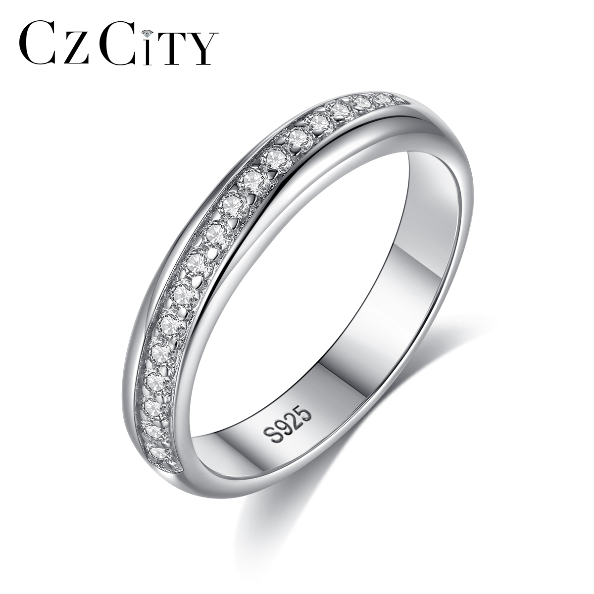 CZCITY Brand Design Pure 925 Sterling Silver Female Eternal Ring For Women Bride Simple Finger Ring Engagement Jewelry  SR0454