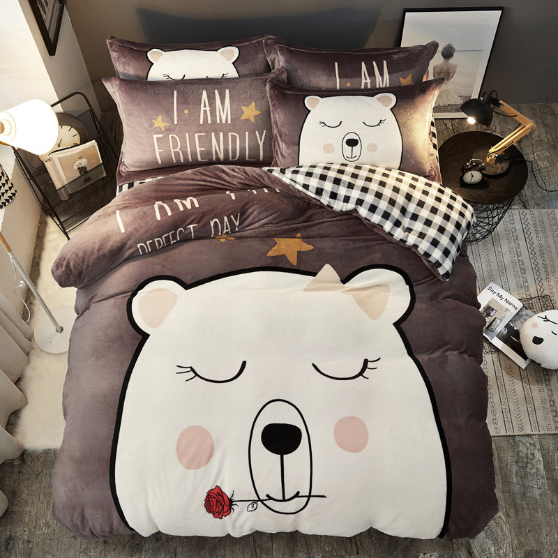 Lovely Cartoon Corgi Cat Polar bear Rabbit Flannel child Bedding Set Thick Fleece Fabric Duvet Cover Bed sheet/Linen PillowcasesLovely Cartoon Corgi Cat Polar bear Rabbit Flannel child Bedding Set Thick Fleece Fabric Duvet Cover Bed sheet/Linen Pillowcases