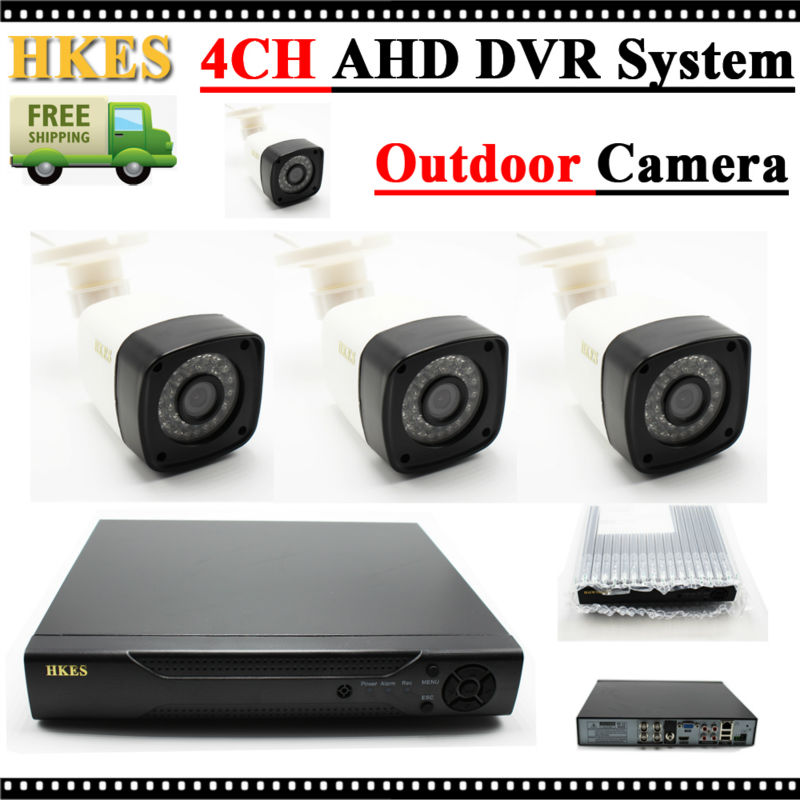 HKES 720P HD 1200TVL Outdoor Security Camera System 1080P HDMI CCTV Video Surveillance 4CH DVR Kit AHD Camera Set  security cctv outdoor waterrpoof 1200tvl ahd 720p camera system 4ch hdmi hybrid dvr home video surveillance kit p2p mobile view