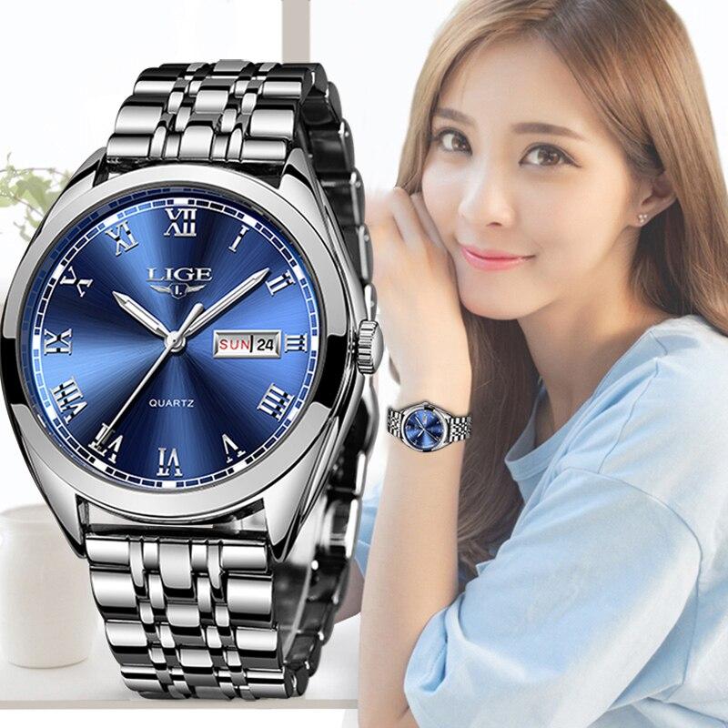 2019 LIGE Women New Blue Watch Date Business Quartz Watch Ladies Top Brand Luxury Female Wrist Watch Girl Clock Relogio Feminino