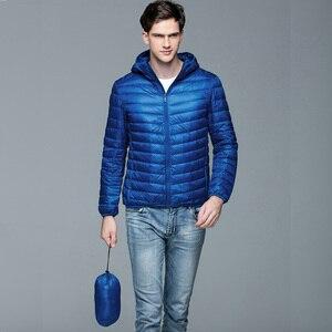 Image 4 - Для мужчин Мужские парки зимнее пуховое пальто Куртка–пуховик на 90% белом утином пуху Ultra Light Plus Размеры зимняя брендовая Пуховики и парки для мужчин Для мужчин Верхняя одежда с капюшоном, пальто