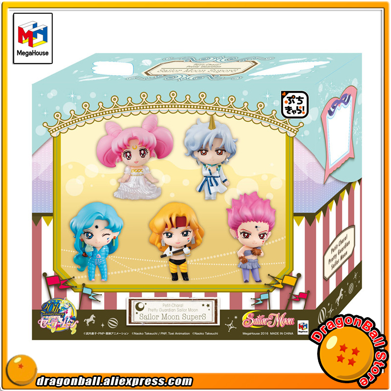 Japanese Anime Pretty Guardian Sailor Moon Original MegaHouse Petit-Chara! Action Figure - SuperS Set of 5 PCS japanese anime one piece original megahouse mh variable action heroes complete action figure dracule mihawk