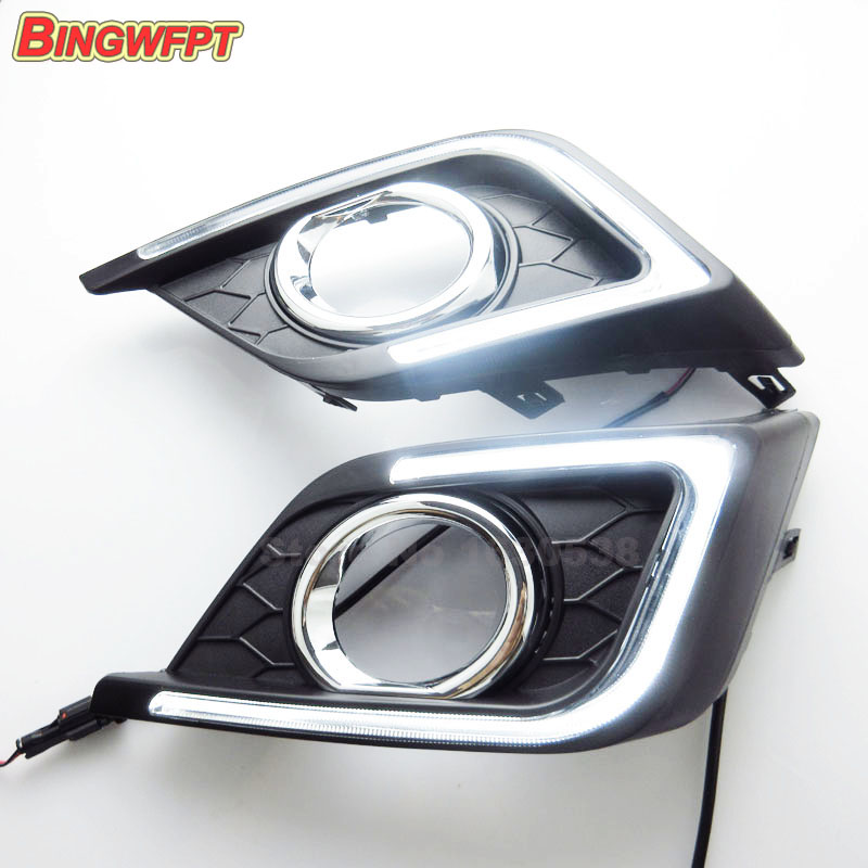 2PCS/pair Car DRL Daytime Running Lights for Nissan Sylphy Sentra 2016 with auto fog daylight driving lamps