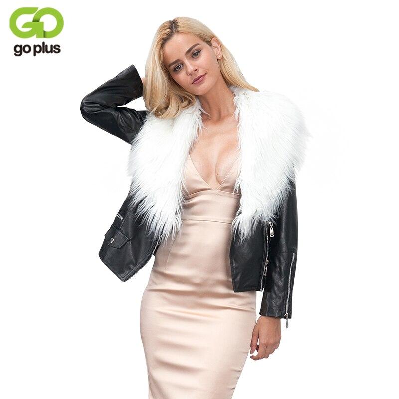 GOPLUS Winter Jackets Women Plus Size Faux Fur Collar PU   Leather   Jacket Coat Streetwear Female Zipper Black Motorcycle Jackets