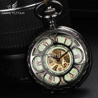 Luminous Dial Automatic Self Wind Pocket Watches Transparent Hollow Out Skeleton Mechanical Watch Hours Times With