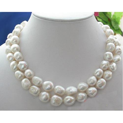 купить Freshwater Pearl Necklace,2Rows 12-18mm Baroque Rice Cultured Pearl Jewellery,Huge Shell Flower Clasp,New Free Shipping. онлайн