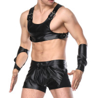 Sexy Costumes Men Faux Leather Sets Bondage Bodysuit Leotard Fetish Erotic Lingerie Set Vest Boxer Sleeves Short Adult Game Wear