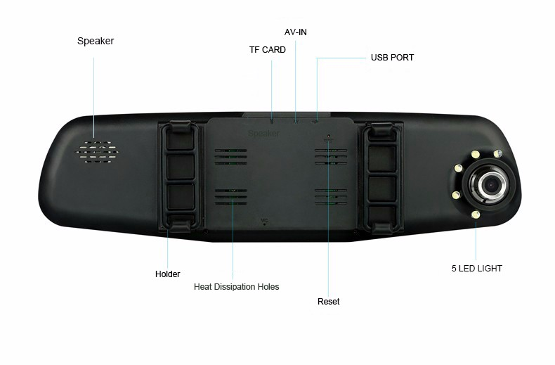 E-ACE Car Dvr Camera Led Lights Blue Rearview Mirror FHD 1080P Night Vision Video Recorder Dual Lens Auto Registrator Dash Cam 19