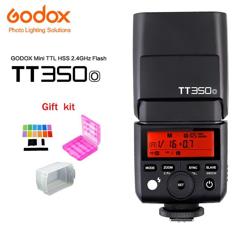 лучшая цена Godox Mini Thinklite TT350O Camera Flash Speedlite TTL HSS 1/8000s GN36 for Olympus/Panasonic Camera+Diffuser+Color Filter