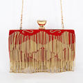 Fashion Satin Chain Tassel Luxury Clutch Evening Bag diamond Lock Gold Clutches Bag Red Wedding Bride Wristlets banquet bag 802