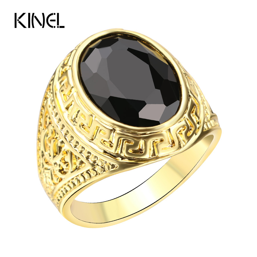 Mens Rings Color Gold Black Ring For Men Retro Texture Engraving ...