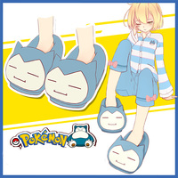 Cute Women and Men Shoes Casual Non slip Pocket Monsters Snorlax Plush Slippers Pikachu Fluffy Slippers Indoor Warm Soft Shoes